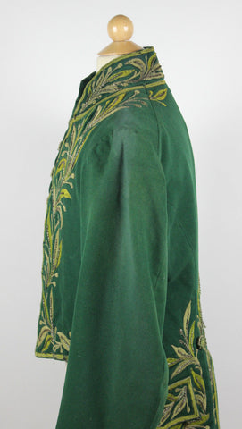 Gentlemen's Early 19th Century Green Cloth Tailcoat Beaded Trim Antique Coat
