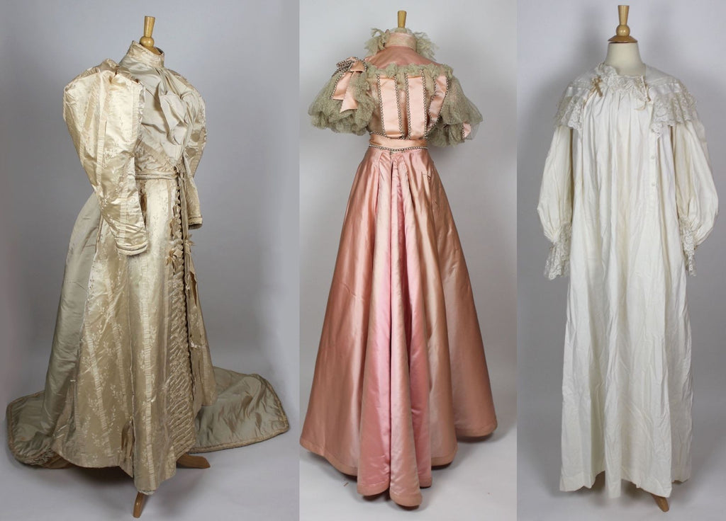 MET Museum Deaccessioned Ivory Silk Wedding Ensemble and Bridesmaid Gown c. 1890