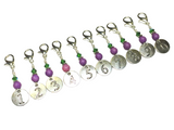 Numbered Stitch Marker Charm Set