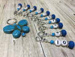 Numbered Stitch Marker Set with Blue Butterfly Holder , Stitch Markers - Jill's Beaded Knit Bits, Jill's Beaded Knit Bits  - 4