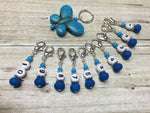 Numbered Stitch Marker Set with Blue Butterfly Holder , Stitch Markers - Jill's Beaded Knit Bits, Jill's Beaded Knit Bits  - 6