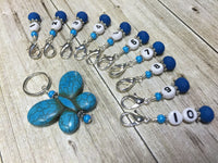 Numbered Stitch Marker Set with Blue Butterfly Holder , Stitch Markers - Jill's Beaded Knit Bits, Jill's Beaded Knit Bits  - 7