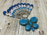 Numbered Stitch Marker Set with Blue Butterfly Holder , Stitch Markers - Jill's Beaded Knit Bits, Jill's Beaded Knit Bits  - 1
