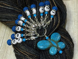 Numbered Stitch Marker Set with Blue Butterfly Holder , Stitch Markers - Jill's Beaded Knit Bits, Jill's Beaded Knit Bits  - 5