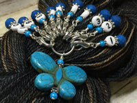 Numbered Stitch Marker Set with Blue Butterfly Holder , Stitch Markers - Jill's Beaded Knit Bits, Jill's Beaded Knit Bits  - 8