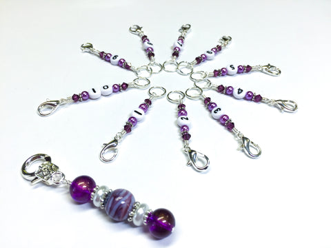 1-10 Numbered Stitch Marker Set for Knitting or Crochet