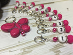 Numbered Stitch Marker Set with Pink Butterfly Holder , Stitch Markers - Jill's Beaded Knit Bits, Jill's Beaded Knit Bits  - 8
