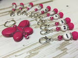 Numbered Stitch Marker Set with Pink Butterfly Holder , Stitch Markers - Jill's Beaded Knit Bits, Jill's Beaded Knit Bits  - 2