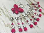 Numbered Stitch Marker Set with Pink Butterfly Holder , Stitch Markers - Jill's Beaded Knit Bits, Jill's Beaded Knit Bits  - 6