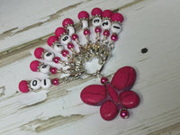 Numbered Stitch Marker Set with Pink Butterfly Holder , Stitch Markers - Jill's Beaded Knit Bits, Jill's Beaded Knit Bits  - 7