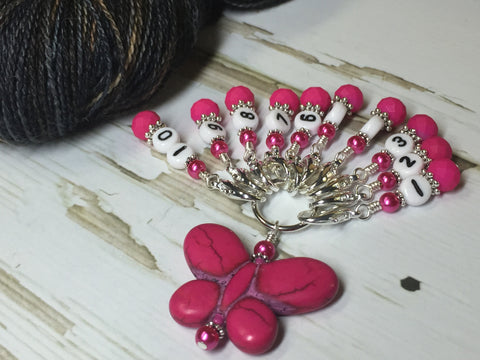 Numbered Stitch Marker Set with Pink Butterfly Holder , Stitch Markers - Jill's Beaded Knit Bits, Jill's Beaded Knit Bits  - 9