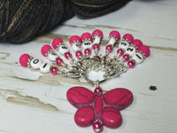 Numbered Stitch Marker Set with Pink Butterfly Holder , Stitch Markers - Jill's Beaded Knit Bits, Jill's Beaded Knit Bits  - 5