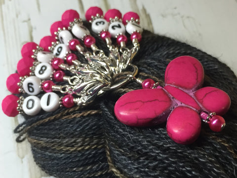 Numbered Stitch Marker Set with Pink Butterfly Holder , Stitch Markers - Jill's Beaded Knit Bits, Jill's Beaded Knit Bits  - 1