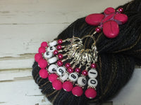 Numbered Stitch Marker Set with Pink Butterfly Holder , Stitch Markers - Jill's Beaded Knit Bits, Jill's Beaded Knit Bits  - 4