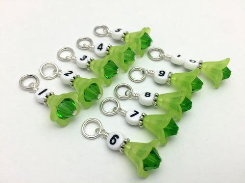 1-10 Numbered Row Counter Stitch Marker Set - Green Flower Beaded Knitting Gifts , Stitch Markers - Jill's Beaded Knit Bits, Jill's Beaded Knit Bits  - 1