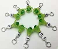 1-10 Numbered Row Counter Stitch Marker Set - Green Flower Beaded Knitting Gifts , Stitch Markers - Jill's Beaded Knit Bits, Jill's Beaded Knit Bits  - 4