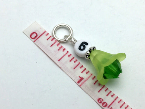 1-10 Numbered Row Counter Stitch Marker Set - Green Flower Beaded Knitting Gifts , Stitch Markers - Jill's Beaded Knit Bits, Jill's Beaded Knit Bits  - 3