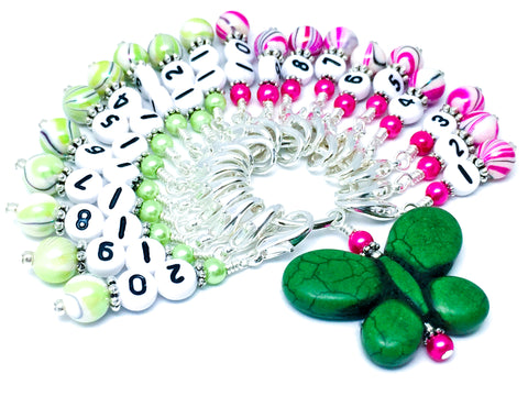 1-20 Numbered Stitch Marker Set with Green Butterfly Holder