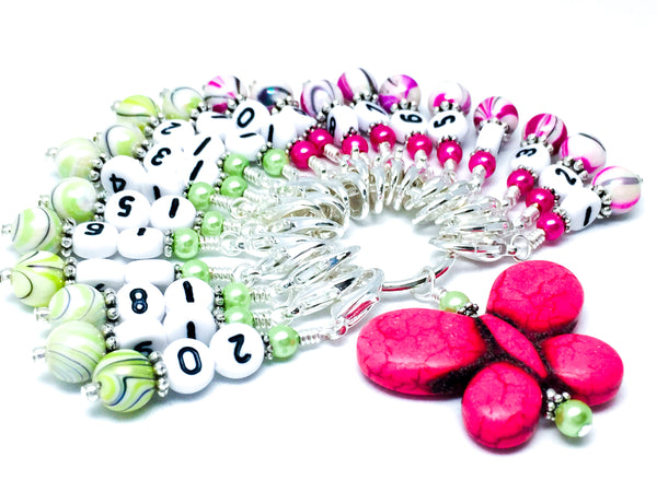 Number Stitch Markers with Pink Butterfly Holder 1-20