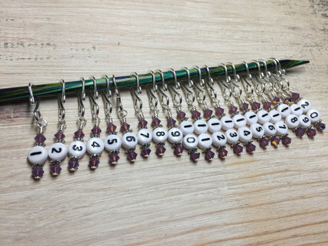 Removable Row Counter Set 1-20 (Purple) , Stitch Markers - Jill's Beaded Knit Bits, Jill's Beaded Knit Bits  - 3
