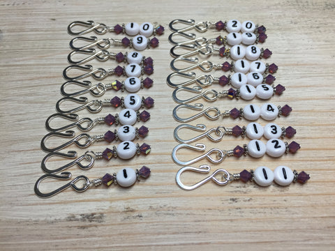 Removable Row Counter Set 1-20 (Purple) , Stitch Markers - Jill's Beaded Knit Bits, Jill's Beaded Knit Bits  - 1