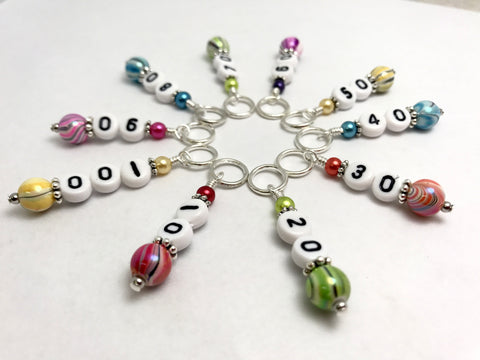 Rainbow Counting Stitch Markers- Number Row Counter 10-100