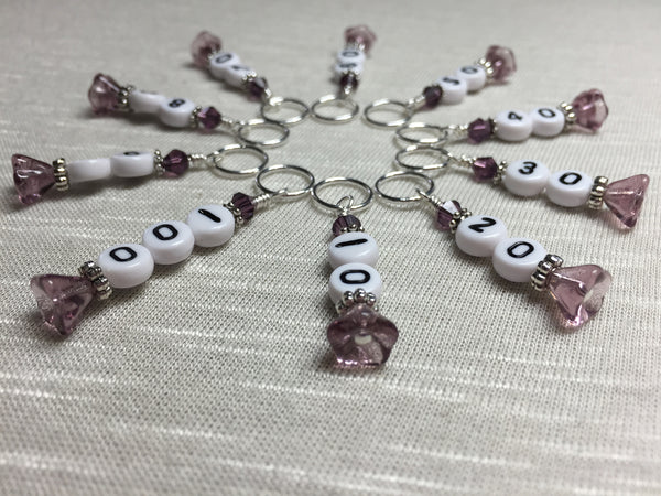 Purple Row Counter Stitch Markers- 10pc. Set , Stitch Markers - Jill's Beaded Knit Bits, Jill's Beaded Knit Bits  - 1