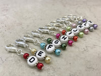 Crochet Hook Letter Markers- Clip On Stitch Markers