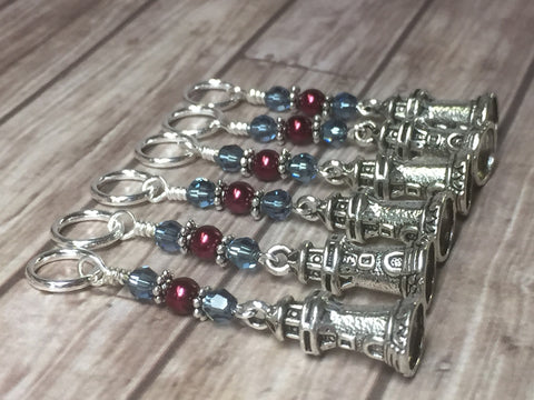 Lighthouse Stitch Markers- Snag Free 6 Piece Set , Stitch Markers - Jill's Beaded Knit Bits, Jill's Beaded Knit Bits  - 1