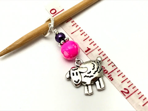 Snag Free Beaded Sheep Stitch Marker Charm Set- Gift for Knitters