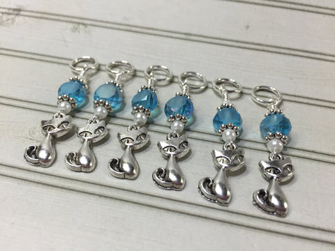 Snag Free Cat Stitch Markers in Blue Crystal- 6 Piece Set , Stitch Markers - Jill's Beaded Knit Bits, Jill's Beaded Knit Bits  - 3