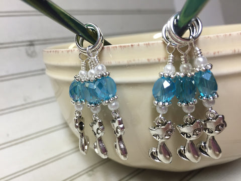 Snag Free Cat Stitch Markers in Blue Crystal- 6 Piece Set , Stitch Markers - Jill's Beaded Knit Bits, Jill's Beaded Knit Bits  - 4