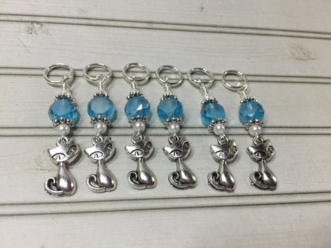 Snag Free Cat Stitch Markers in Blue Crystal- 6 Piece Set , Stitch Markers - Jill's Beaded Knit Bits, Jill's Beaded Knit Bits  - 1