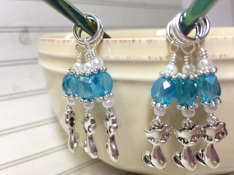 Snag Free Cat Stitch Markers in Blue Crystal- 6 Piece Set , Stitch Markers - Jill's Beaded Knit Bits, Jill's Beaded Knit Bits  - 2