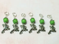 6 Frog Stitch Markers- Snag Free Knitting Tools , Stitch Markers - Jill's Beaded Knit Bits, Jill's Beaded Knit Bits  - 4