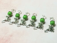 6 Frog Stitch Markers- Snag Free Knitting Tools , Stitch Markers - Jill's Beaded Knit Bits, Jill's Beaded Knit Bits  - 2