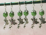 6 Frog Stitch Markers- Snag Free Knitting Tools , Stitch Markers - Jill's Beaded Knit Bits, Jill's Beaded Knit Bits  - 5