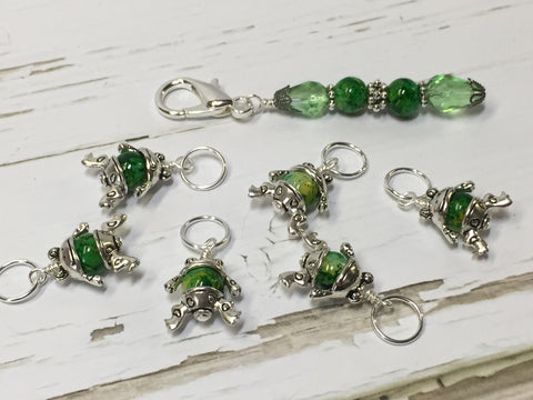 6 Little Green Frogs Stitch Markers & Optional Holder Clip , stitch markers - Jill's Beaded Knit Bits, Jill's Beaded Knit Bits  - 6