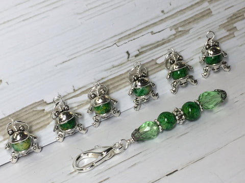 6 Little Green Frogs Stitch Markers & Optional Holder Clip , stitch markers - Jill's Beaded Knit Bits, Jill's Beaded Knit Bits  - 7