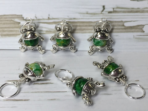 6 Little Green Frogs Stitch Markers & Optional Holder Clip , stitch markers - Jill's Beaded Knit Bits, Jill's Beaded Knit Bits  - 3