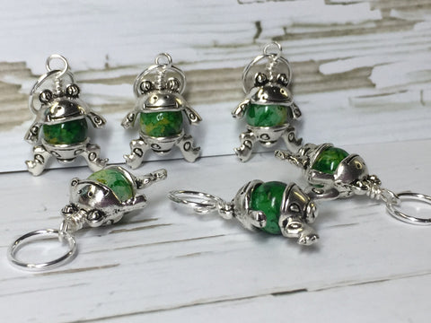 6 Little Green Frogs Stitch Markers & Optional Holder Clip , stitch markers - Jill's Beaded Knit Bits, Jill's Beaded Knit Bits  - 1