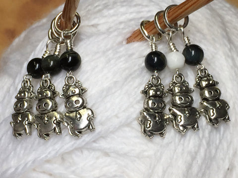 6 Snag Free Cow Stitch Markers , Stitch Markers - Jill's Beaded Knit Bits, Jill's Beaded Knit Bits  - 10