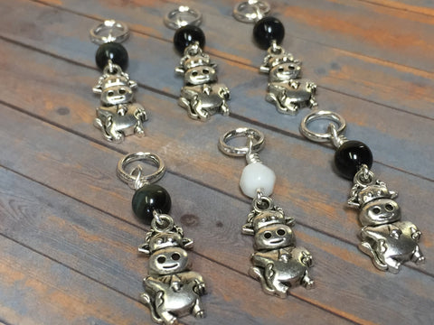 6 Snag Free Cow Stitch Markers , Stitch Markers - Jill's Beaded Knit Bits, Jill's Beaded Knit Bits  - 1