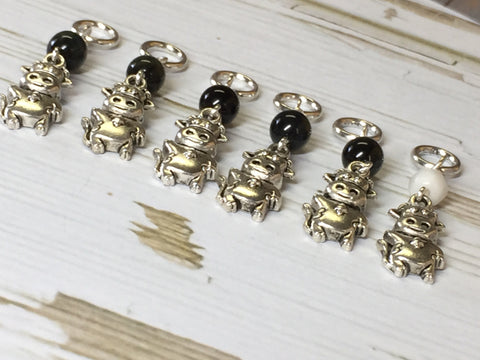 6 Snag Free Cow Stitch Markers , Stitch Markers - Jill's Beaded Knit Bits, Jill's Beaded Knit Bits  - 8
