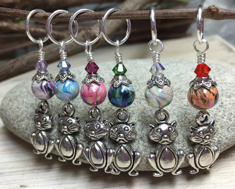Pot Belly Cat Stitch Markers , Stitch Markers - Jill's Beaded Knit Bits, Jill's Beaded Knit Bits  - 1