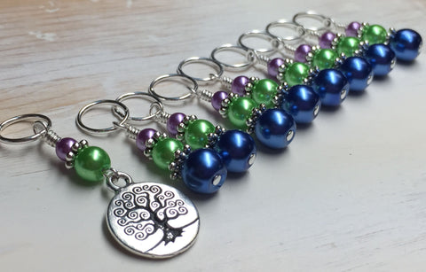 Tree of Life Stitch Marker Set for Knitting or Crochet , Stitch Markers - Jill's Beaded Knit Bits, Jill's Beaded Knit Bits  - 6