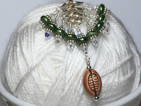Football Stitch Marker Jewelry Set , Stitch Markers - Jill's Beaded Knit Bits, Jill's Beaded Knit Bits  - 1