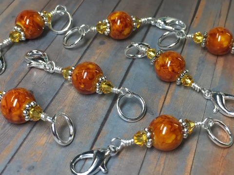 Knit AND Crochet Stitch Marker Set- Burnt Amber , Stitch Markers - Jill's Beaded Knit Bits, Jill's Beaded Knit Bits  - 6