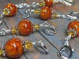 Knit AND Crochet Stitch Marker Set- Burnt Amber , Stitch Markers - Jill's Beaded Knit Bits, Jill's Beaded Knit Bits  - 2