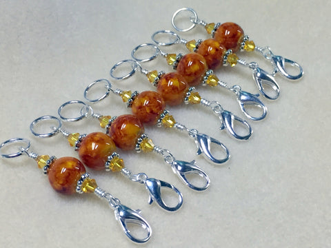 Knit AND Crochet Stitch Marker Set- Burnt Amber , Stitch Markers - Jill's Beaded Knit Bits, Jill's Beaded Knit Bits  - 5